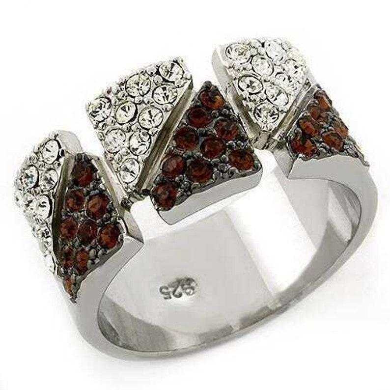 Loas1227-925 Sterling Silver Ring Rhodium Women Top Grade Crystal Multi Color A874-loas1227