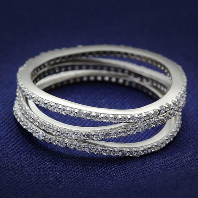 Ts006-925 Sterling Silver Ring Rhodium Women Aaa Grade Cz Clear A874-ts006
