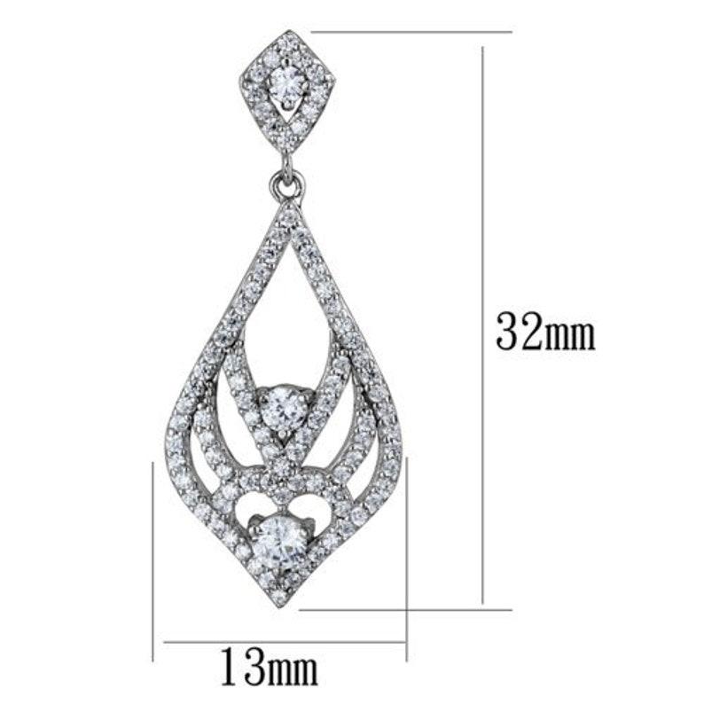 Ts497-925 Sterling Silver Earrings Rhodium Women Aaa Grade Cz Clear A874-ts497