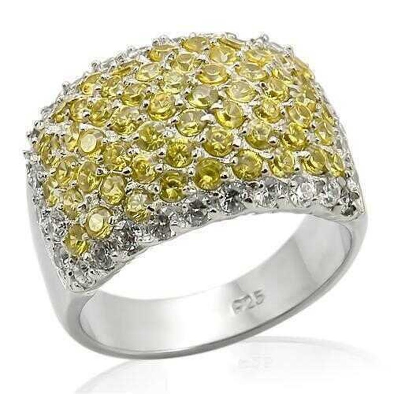 Los204-925 Sterling Silver Ring Rhodium Women Aaa Grade Cz Topaz A874-los204