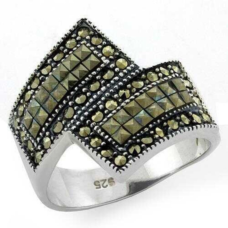 Loas1100-925 Sterling Silver Ring Antique Tone Women Semi-precious Jet A874-loas1100