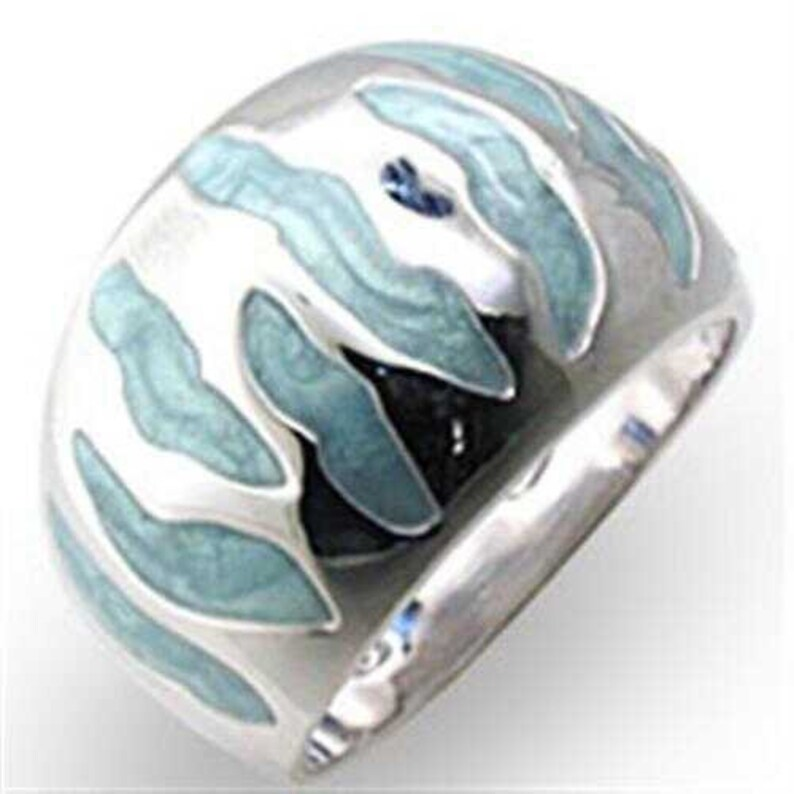 34205-925 Sterling Silver Ring High-polished Women Epoxy Sea Blue A874-34205