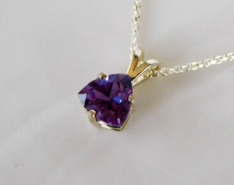 0.35 Carat Certified Alexandrite Pendant Alexandrite Necklace Color Change Genuine Natural Real June Birthstone Sterling Silver AP1