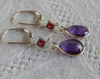 Amethyst Earrings, Amethyst & Red Cubic Zirconia Teardrop Earrings, Amethyst Red CZ Sterling Earrings, February Birthstone, Natural Amethyst