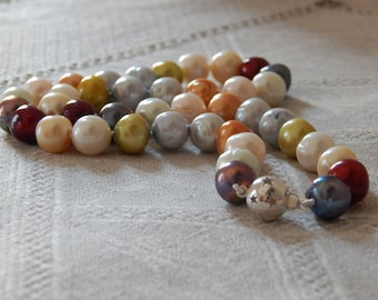 Multicolored Pearl Necklace, Hand Knotted Multicolored Pearls, Multicolored Pearls, Hand Knotted Pearls, June Birthstone, Pearls