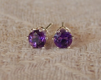 Amethyst 5mm Studs, Amethyst Sterling Silver or 14 Karat Gold Filled Earrings, Amethyst Posts, February Birthstone, Natural African Amethyst