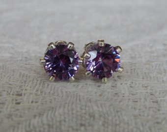 Sapphire 6mm Studs, Purple Sapphire Sterling Silver or 14 Karat Gold Filled Post Earrings, September Birthstone, Lab Created Sapphire