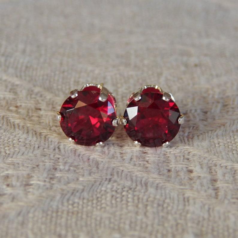3155e970c Garnet 8mm Studs Garnet Statement Earrings January | Etsy