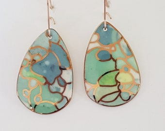 Mermaid vibes porcelain dangle earrings in teals and gold