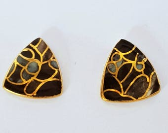 Black and gold triangle studs, classic design in porcelain ceramic and gold lustre