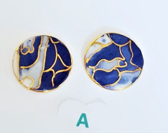 Blue white and gold porcelain stud earrings