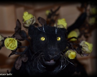 Enchanted black Panther, Fantasy animal, faux taxidermy, Soft Sculpture, yellow black, Handmade, OOAK, Animal sculpture, Gothic cat