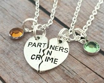 Partners in Crime Necklace Set, Birthstone Matching Necklaces, Couples Jewelry, Split Heart Necklaces, couples jewelry, friendship jewelry