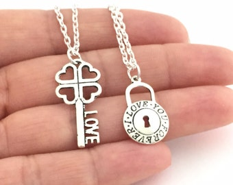 Lock and Key Necklace Set, Love Forever Necklaces, Key to my Heart Necklace, Couple Jewelry Gift, Best Friend Necklace, His and Hers Jewelry