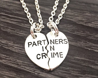Partners in Crime Necklace Set, Matching Necklaces, Couples Jewelry, Gift For Best Friend, Split Heart Necklaces, Hand Stamped Jewelry, Sale