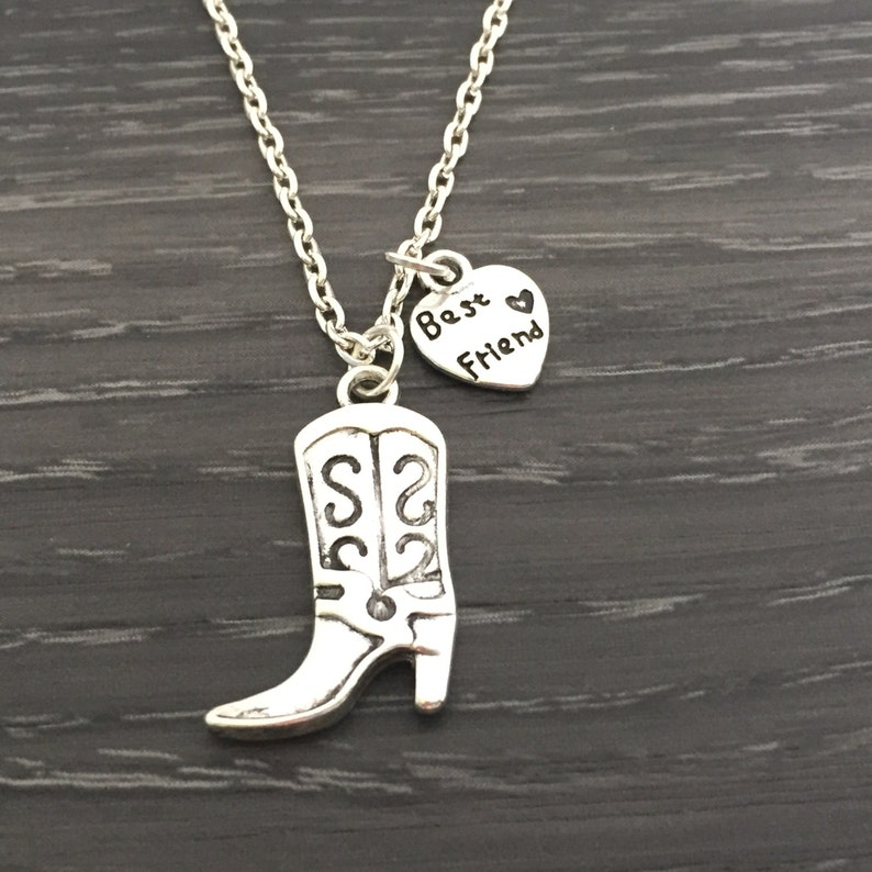 Silver Western Boot Necklace