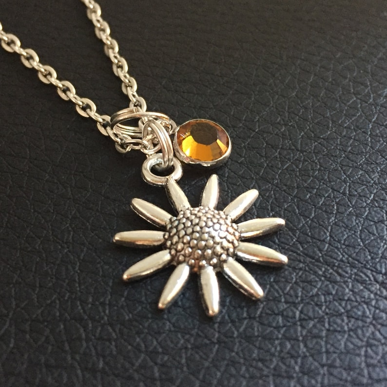 d9434ef03070f sunflower necklace, topaz birthstone, November birthday gift, sunflower  jewelry, silver charm, sister jewelry, flower girl, bridesmaids gift