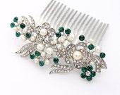 Green Wedding Hair Accessory, Emerald Green Bridal Comb, Crystal Green Hair Pin, Emerald Green Headpiece, Prom Bridesmaid Hair Clip