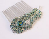 Bridesmaid Hair Pin, Peacock Wedding Hair Accessory, Crystal Peacock Feather Comb, Teal Blue Hairpiece, Prom Comb, Bridal Hair Jewelry