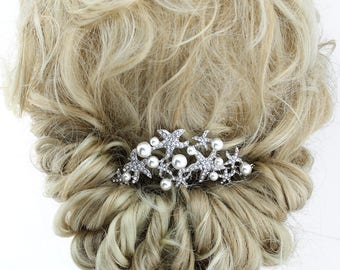 Beach wedding hair accessories etsy beach wedding hair comb bridal hair clip crystal pearl starfish comb bridal hairpiece wedding hair combs silver bridal hair accessory junglespirit Images