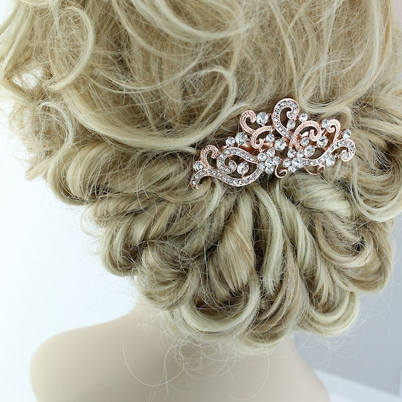 7359b332c479 Rose Gold Comb Rhinestone Rose Gold Bridal Hair Clip Rose