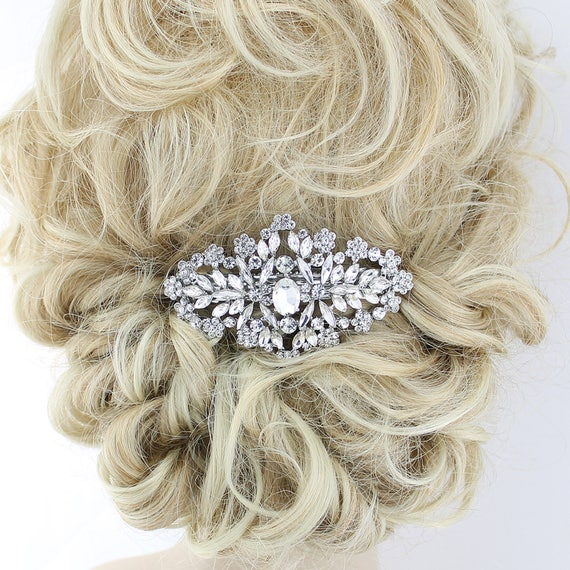 Mother-In-Law Gift for Her Facet Faceted Gem Clear Bridal White Celebrity Hair Fancy Barrette Wedding Gift Bridal Shower Beach