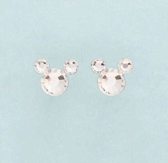 bb2c00aa3 Mickey Ears Earrings Crystal Minnie Ears Earrings Cartoon | Etsy