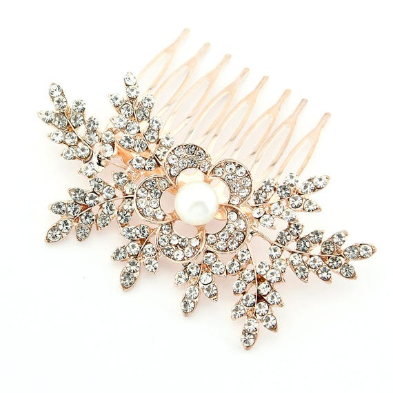 c7501e9f3f4a Rose Gold Hair Piece Bridal Comb Wedding Hair Accessories