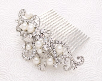 Crystal Pearl Bride Hair Comb Prom Wedding Hairpiece Silver Hair Combs Women Bridal Pearl Headpiece Jewelry Accessory