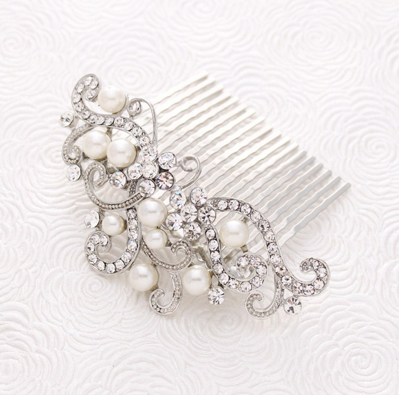 Crystal Pearl Wedding Hair Comb Prom Bridal Hairpiece Gatsby image 0