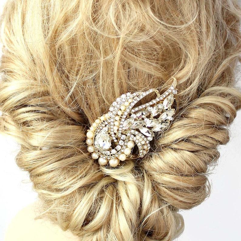 Vintage Wedding Hair Piece Gold Crystal Pearl Hair Comb Gold Bridal Comb Statement Bridal Hair Clip Rhinestone Wedding Hair Accessories