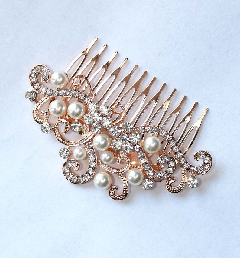 7ac98cbb8c88 Rose Gold Veil Comb Rose Gold Bridal Hair Comb Rose Gold