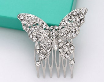 Butterfly Hair Comb, Bridal Hair Piece, Rhinestone Silver Butterfly Comb, Bridesmaid Flower Girl Headpiece Hair Accessory, Wedding Hair Clip