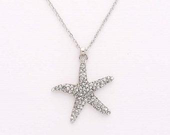 Starfish Necklace, Starfish Charm Necklace, Beach Jewelry, Starfish Bridal Bridesmaid Pendant Necklace, Crystal Silver Beach Jewelry