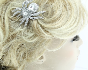 Bridal Hair Accessory, Halloween Wedding Hairpiece, Silver Rhinestone Bridal Hair Clip, Crystal Spider Hair Comb, Halloween Hair Pin Jewelry