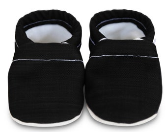ORGANIC baby shoes, black baby shoes, black vegan baby shoes, organic baby shoes, linen moccasins