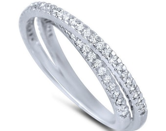 Modeschmuck Ringe Crossing Clear Round CZ Stones Pave Rhodium EP Ladies Ring
