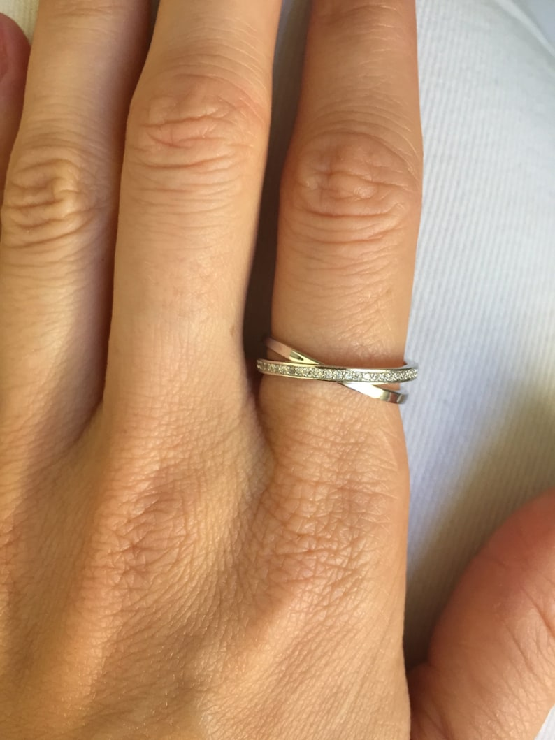 Crossed Wedding Bands.Criss Cross Ring Sterling Silver Crossed Eternity Wedding Band Pave Cz Cubic Zirconia All Around Band Midi Ring
