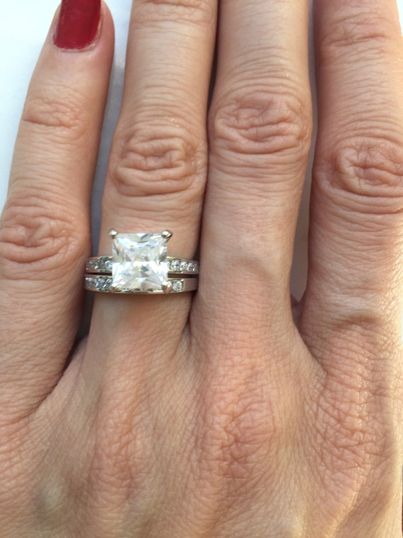 Vintage Ring Set Solitaire Ring With Matching Band Set 3.00 ctw Princess Cz Diamond Bridal Engagement Wedding Ring Set in Sterling Silver