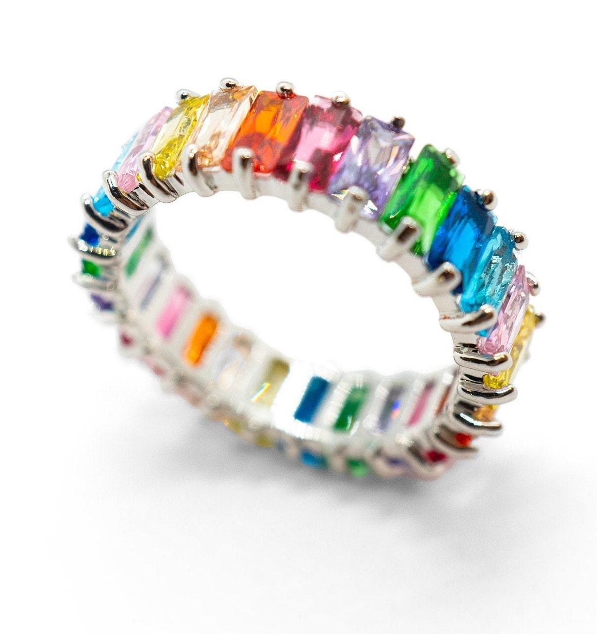 18K Multicolor Rainbow Eternity Ring, Ombre Eternity Band, Full Eternity Band, Ombre Rainbow Ring, Multicolor Ring, Rainbow Eternity Band for sale