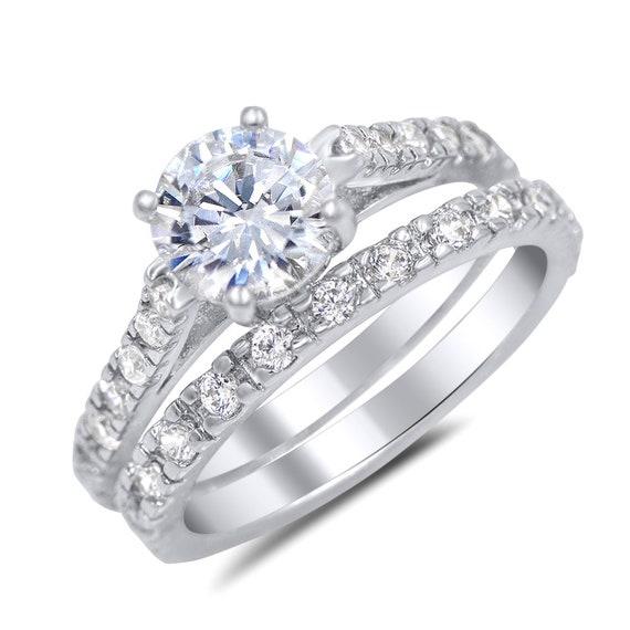 Sterling Silver Round CZ Engagement /& Bridal Wedding St