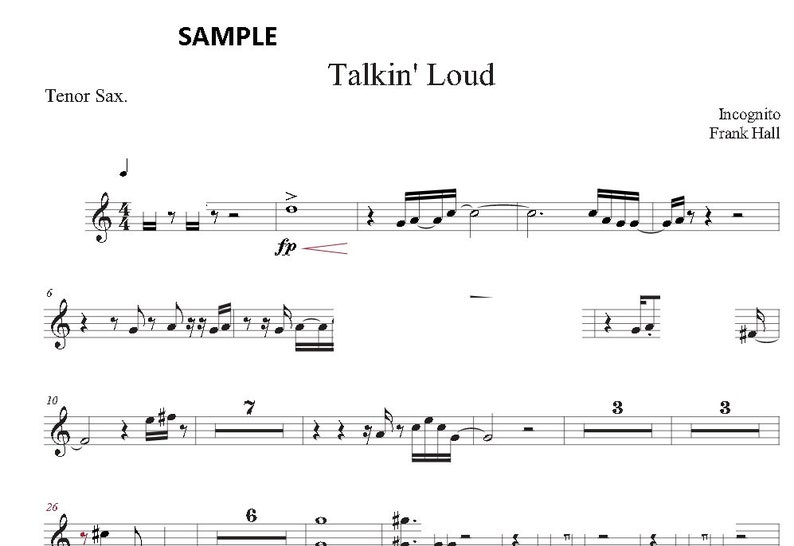 Talkin' Loud by Incognito - TENOR SAX sheet music