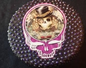 Grateful Dead Box. Metallic Black and Purple. Jewellery Box. Steal Your Face. Stealie. Jerry. Hand Made. Art. Trinket Box