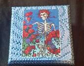 Grateful Dead Upcycled Box. Metallic and Glow in the Dark Blue. Jewellery Box. Hand Made. Art. Trinket Box. Bertha. Skeleton.