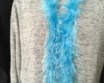 Bright Blue Fuzzy Fashion Scarf Extra Long & Lightweight
