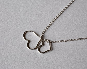 Long Necklace Silver Layering Necklace Two Hearts Necklace Silver Heart Necklace Long Silver Necklace Everyday Necklace
