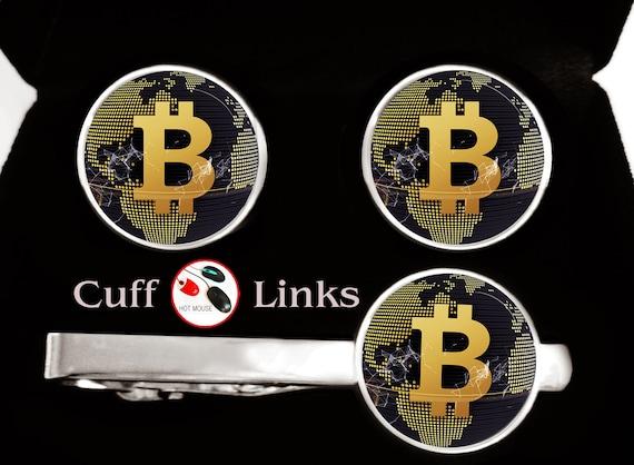 100/% Satisfaction Digital Cryptocurrency- Cufflink Presentation box Bitcoin Cufflinks 3 day shipping Gold Plated Bitcoin Cufflinks