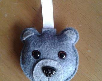 Felt teddy bear Christmas bauble in grey