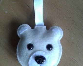 Felt teddy bear Christmas bauble in cream