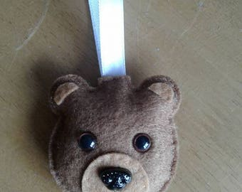 Felt Teddy bear Christmas bauble in brown